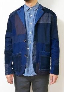 ファンセットオブアート インディゴ染めパッチワークジャケット